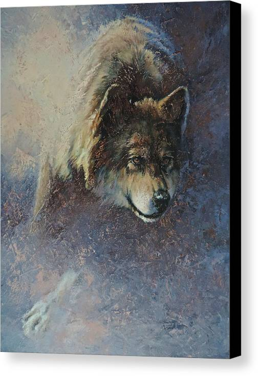 Wolves Canvas Print featuring the painting Locked On Target by Mia DeLode