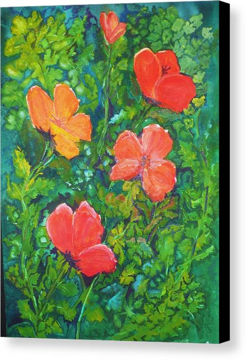 Poppies Canvas Print featuring the painting Love Those Poppies by Deva Claridge