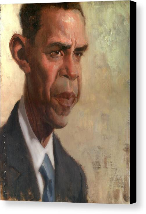 Barack Obama Canvas Print featuring the painting Obama by Court Jones