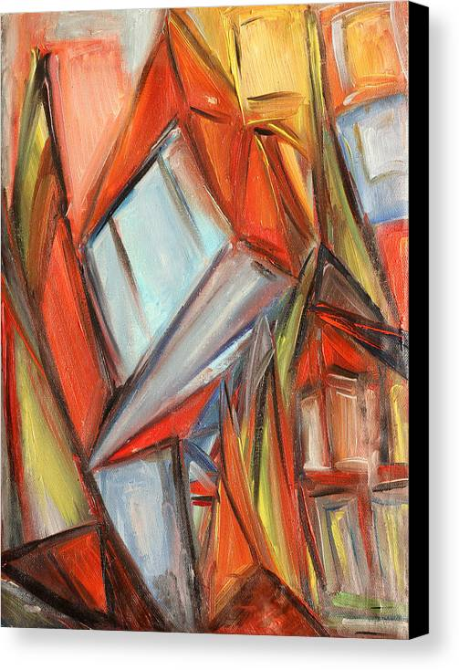 City Canvas Print featuring the painting Old City by Natia Tsiklauri