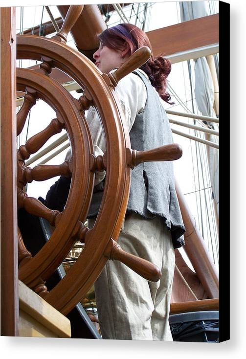Redhead Canvas Print featuring the photograph Redhead At The Wheel by Mark Cheney