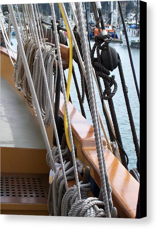 Rope Canvas Print featuring the photograph Rigging by Mark Cheney
