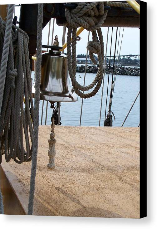 Rope Canvas Print featuring the photograph Ship's Bell by Mark Cheney
