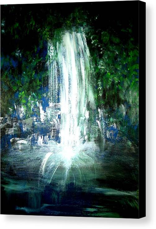 Waterfall Canvas Print featuring the painting Water Falling by Michela Akers