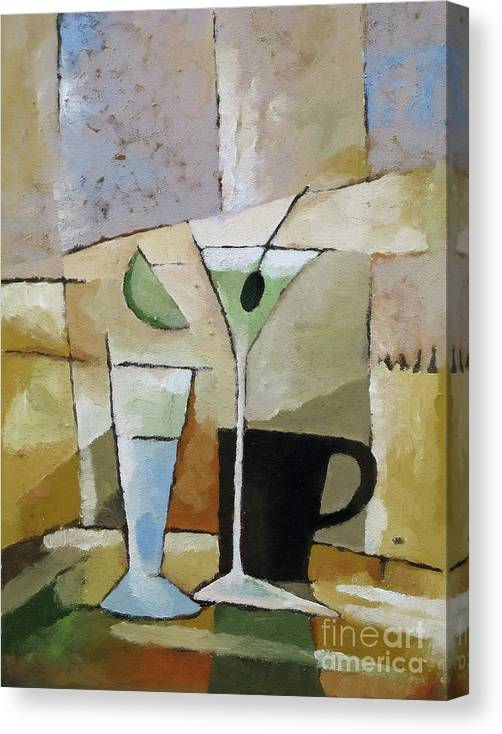 Cocktail Canvas Print featuring the painting Martini by Lutz Baar