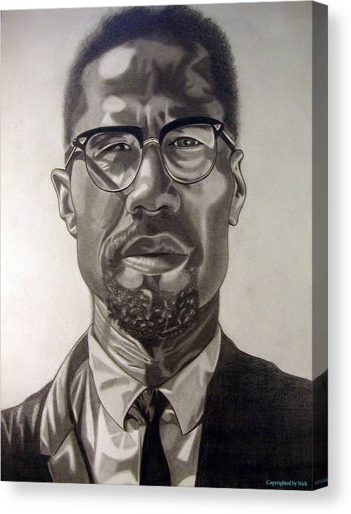 Pencil Canvas Print featuring the drawing Malcom X by Nick H