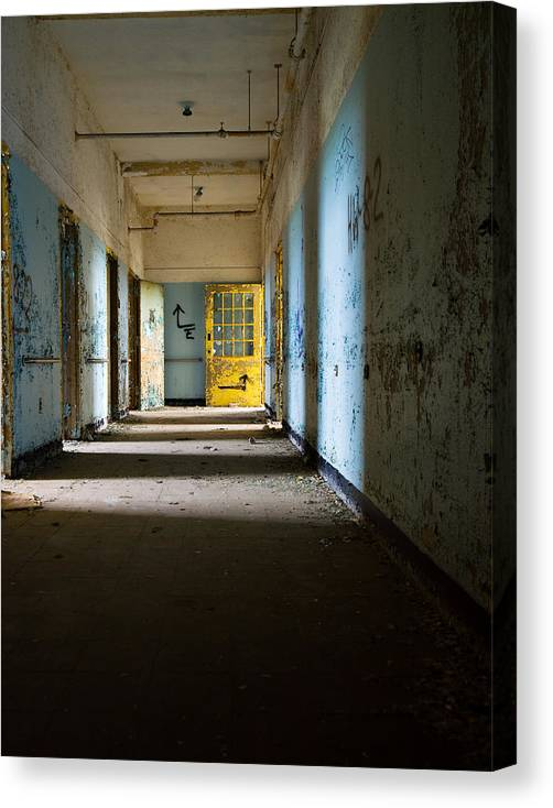 Abandoned Canvas Print featuring the photograph Yellow Door by Jon Washburn