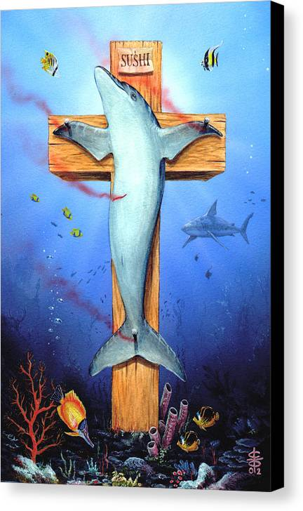 Dolphin Canvas Print featuring the painting Sushi by Victor Whitmill