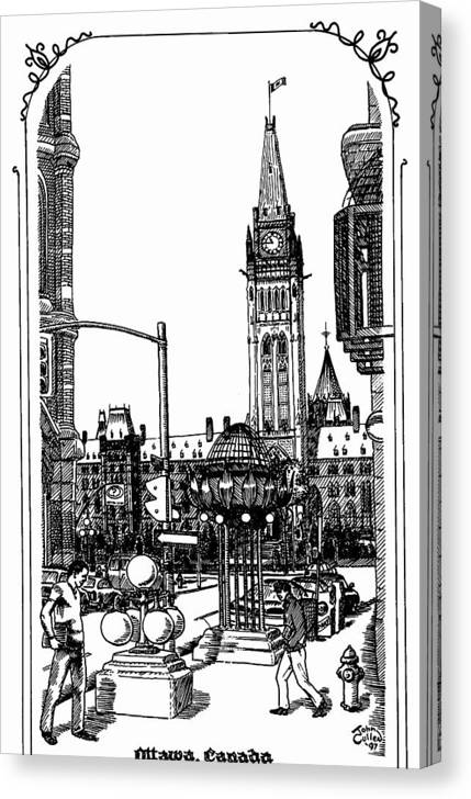 Cityscape Canvas Print featuring the mixed media Peace Tower Parliament Hill Ottawa 1995 by John Cullen