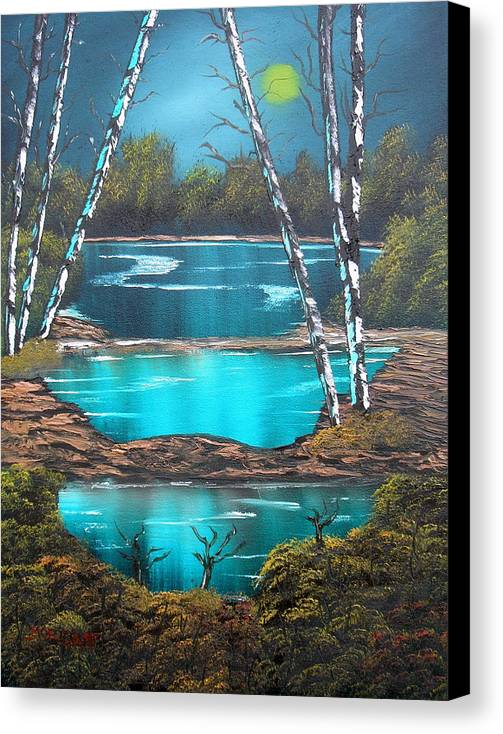 Landscape Canvas Print featuring the painting Midnight Ponds by Sheldon Morgan