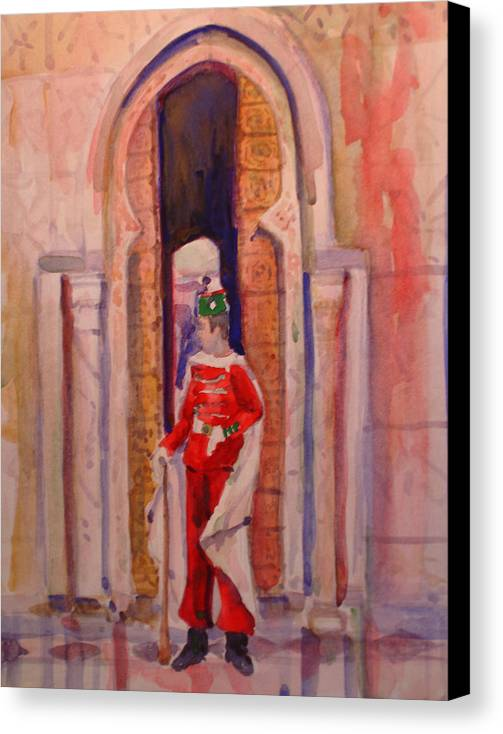 Figure Canvas Print featuring the painting Moroccan Soldier by Joyce Kanyuk