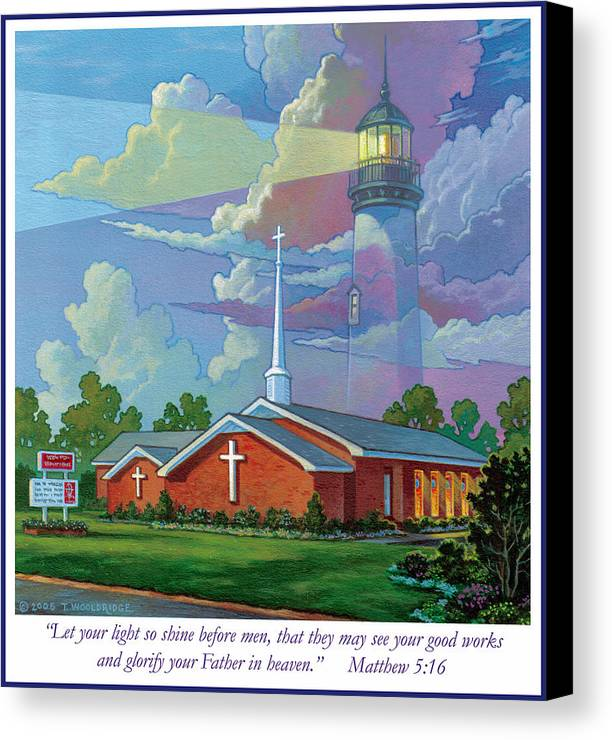 Landscape Canvas Print featuring the painting Ocean View Baptist Church by Tom Wooldridge