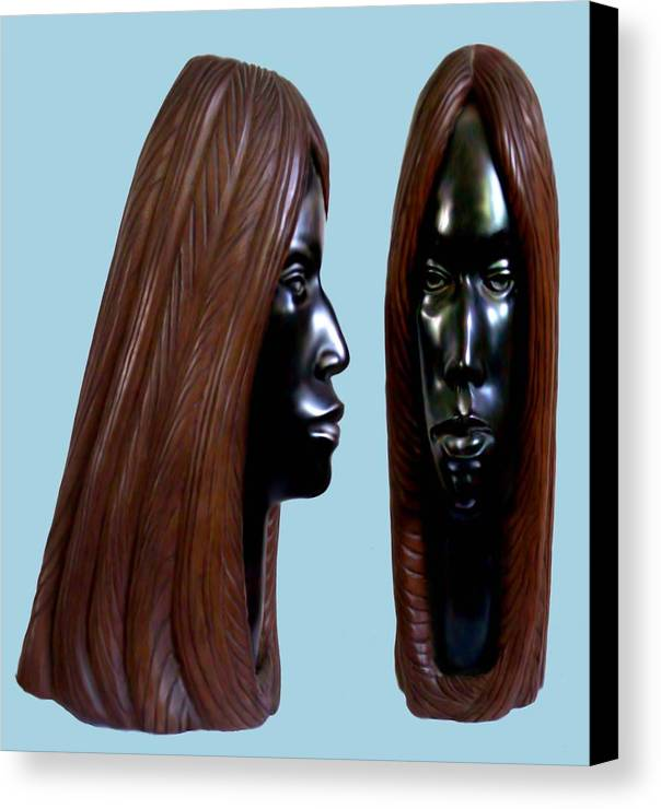 Wood Canvas Print featuring the sculpture Black Beauty by Jorge Gomez Manzano