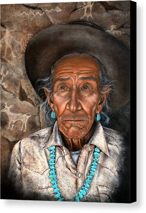 People Canvas Print featuring the painting Vision Of The Past by Deb Owens-Lowe