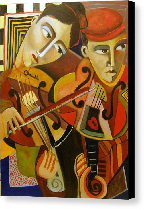 Music Violins Romance Man Woman Canvas Print featuring the painting Duo Romantico by Niki Sands