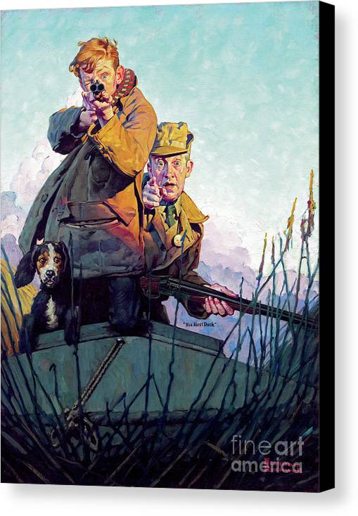 Rockwell Canvas Print featuring the painting His First Duck by Norman Rockwell