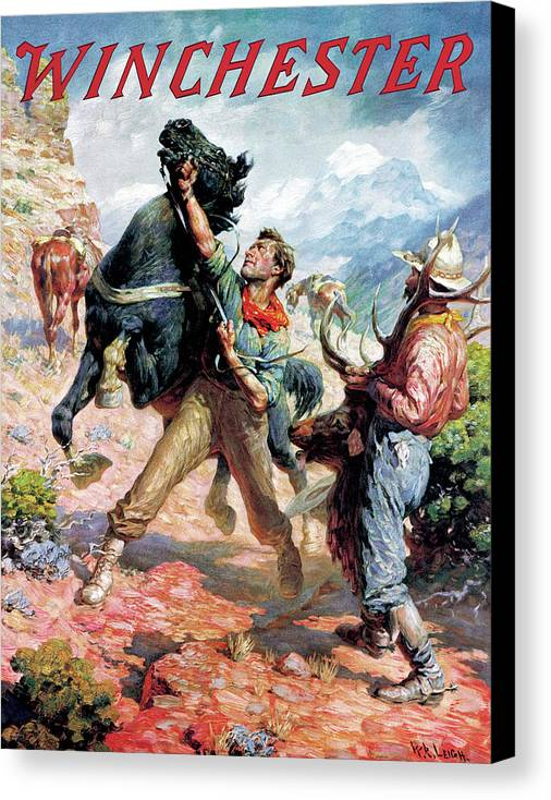 Cowboys Canvas Print featuring the painting Hold Em Steady by W R Leigh
