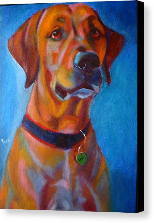 Dog Portraits Canvas Print featuring the painting Miss Lucy by Kaytee Esser