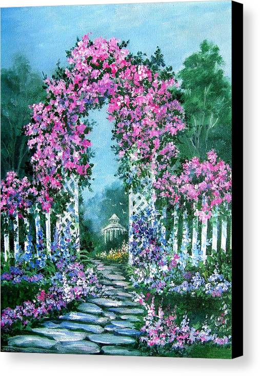 Roses;floral;garden;picket Fence;arch;trellis;garden Walk;flower Garden; Canvas Print featuring the painting Rose-covered Trellis by Lois Mountz