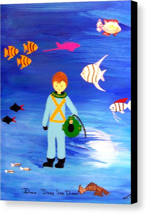Children\\ Canvas Print featuring the painting Sea Diver by Sandi Stonebraker