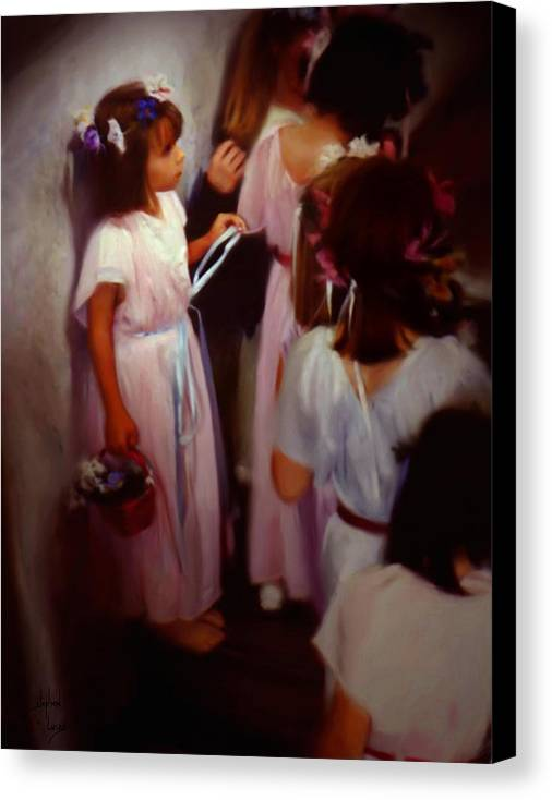 Children Canvas Print featuring the painting The Fisrt May Day Dance by Stephen Lucas