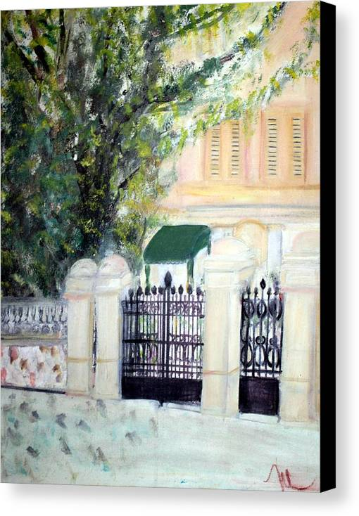 Architecture Canvas Print featuring the painting The Gatehouse At Villa Mariposa by Michela Akers