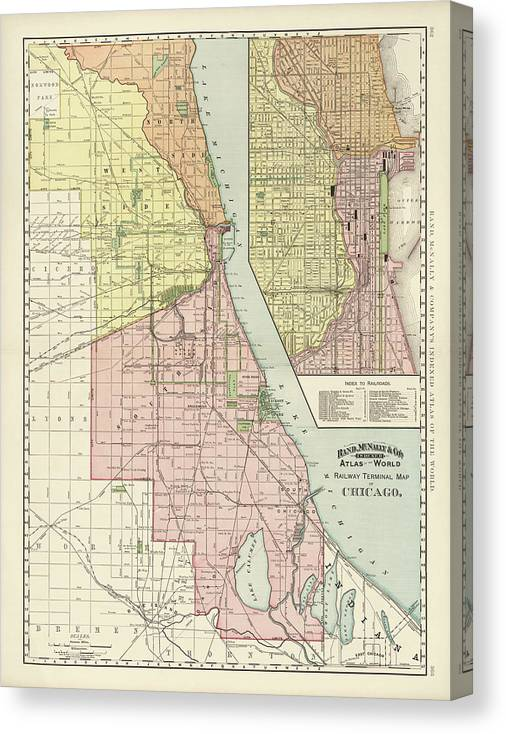 Chicago Map Canvas.Old Chicago Map By Rand Mcnally And Company 1892 Canvas Print