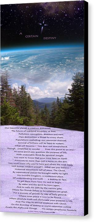 Poetry Canvas Print featuring the mixed media A Certain Destiny - Poster by Patrick J Maloney