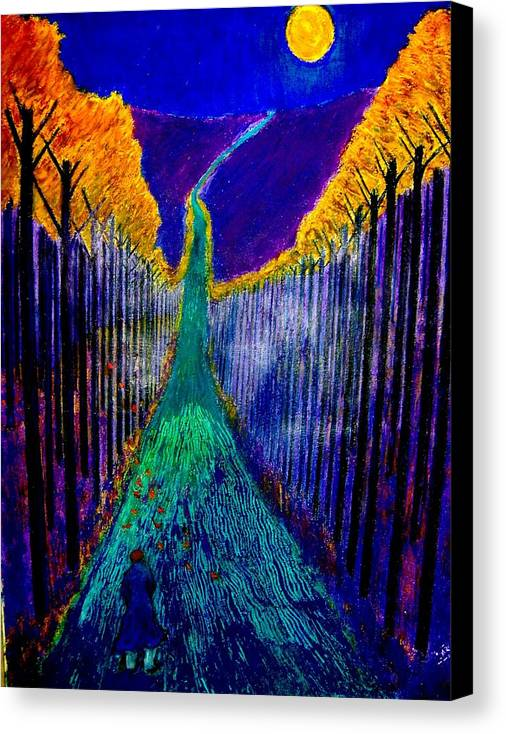 Road Canvas Print featuring the painting Night Train by Kent Whitaker