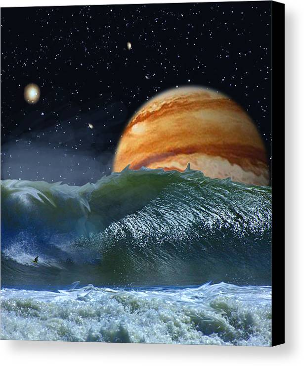 David Jackson Running The Vortex Surfing Alien Landscape Planets Scifi Canvas Print featuring the digital art Running The Vortex by David Jackson