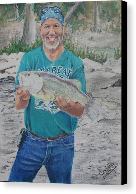 Love The Detail You Can Achieve With Color Pencil This Portrait Is Of A Close Family Friend. A Fun Day Fishing Captured Memories Are Priceless. Canvas Print featuring the painting Eddie's Catch by Charlotte Hastings