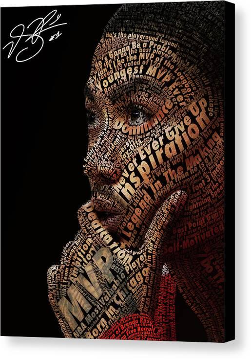 Derrick Rose Typeface Portrait Canvas Print featuring the digital art Derrick Rose Typeface Portrait by Dominique Capers