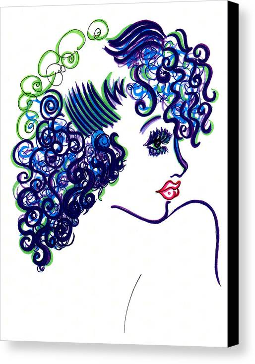 Eve Collection Canvas Print featuring the drawing Lady Flirting by Judith Herbert