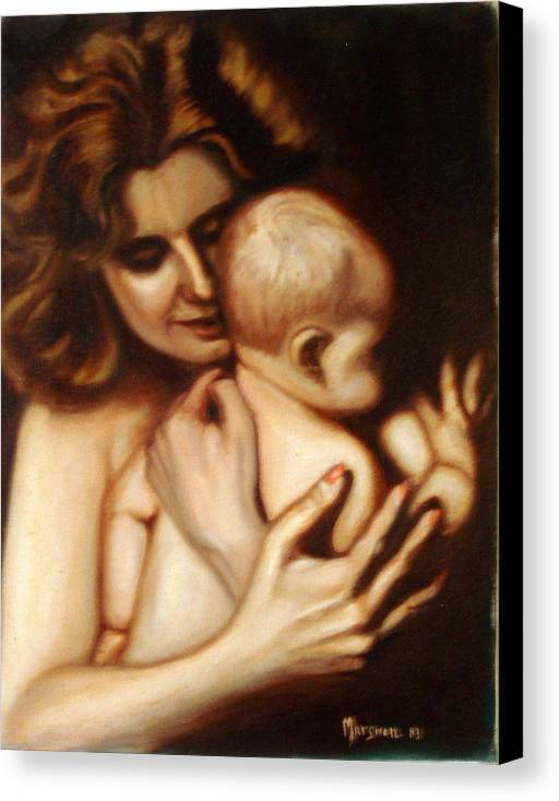 Portrait Canvas Print featuring the painting Maternal Love by Lia Marsman