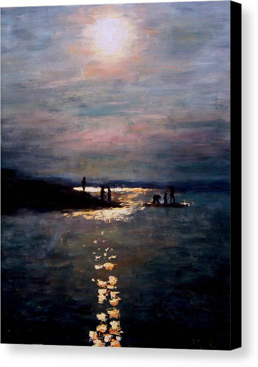 Sunset Canvas Print featuring the painting Moonlight by Ashlee Comerford