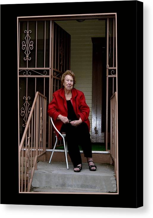 People Canvas Print featuring the photograph Porchwatcher by Richard Gordon