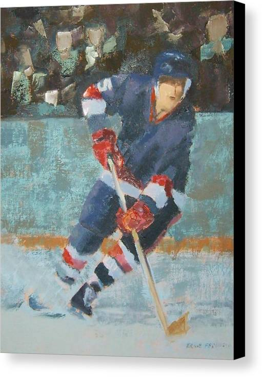 Sports Portrait Canvas Print featuring the painting The Winger by Ernie Ferguson