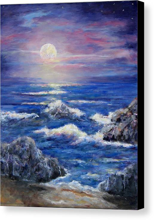 Full Moon On The California Coast Canvas Print featuring the painting Tranquility by Thomas Restifo