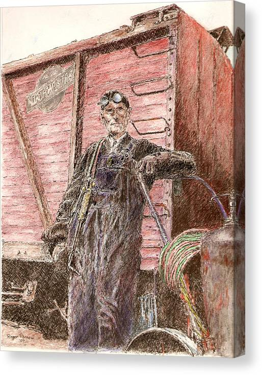 Welder Canvas Print featuring the painting Welder by Roger Parnow