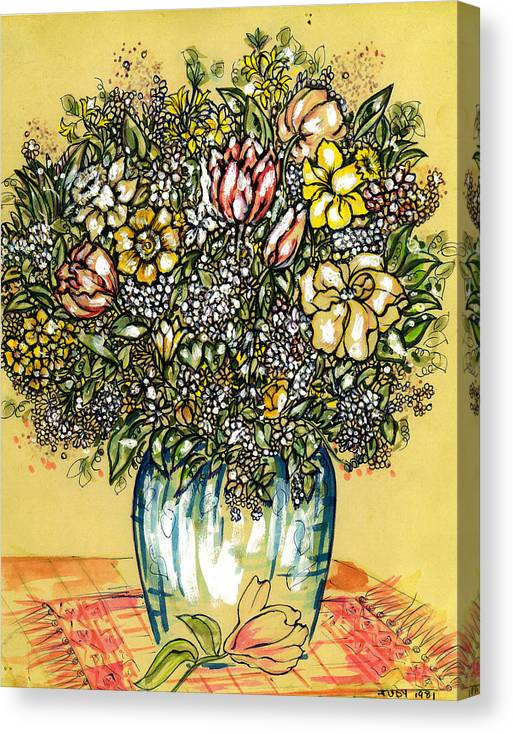 The Garden Of Eden Collection Canvas Print featuring the drawing Bouquet For You by Judith Herbert