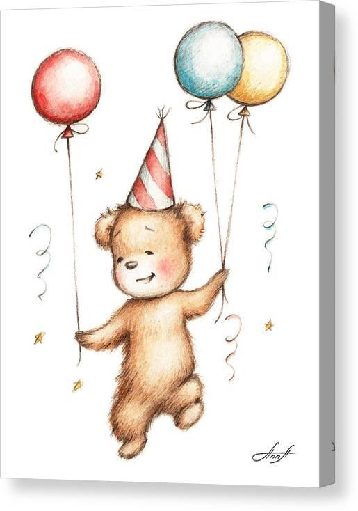 Print of Teddy Bear with Balloons by Anna Abramska
