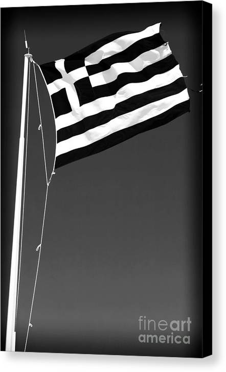 Greek Flag Canvas Print featuring the photograph Greek Flag by John Rizzuto