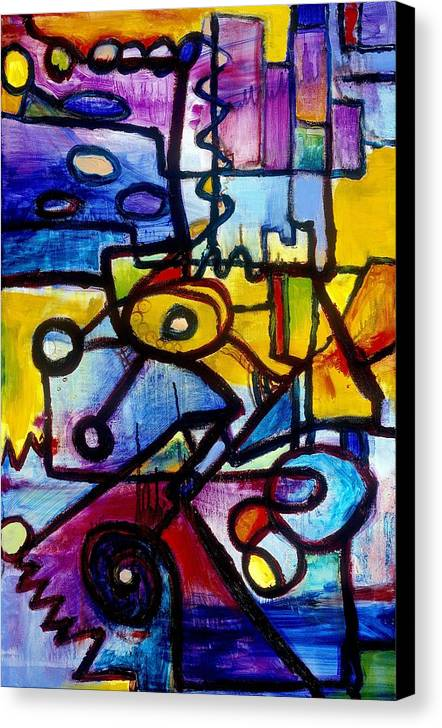 Suburb Canvas Print featuring the painting Suburbias Daily Beat by Regina Valluzzi