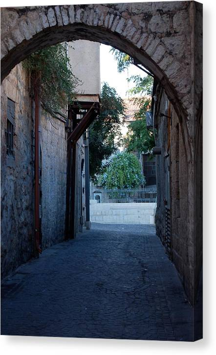 Jerusalem Canvas Print featuring the photograph An Old Street In Jerusaem by Susan Heller
