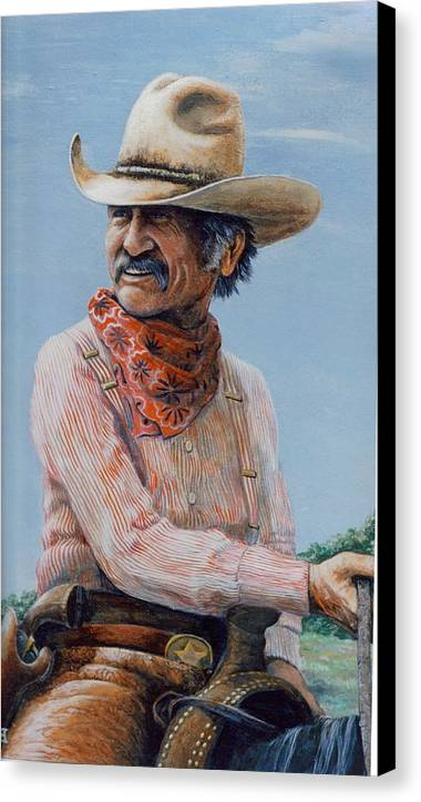 Cowboy Canvas Print featuring the print Gus by Lee Bowerman