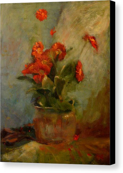 Red Canvas Print featuring the painting sold Red Gerberas by Irena Jablonski