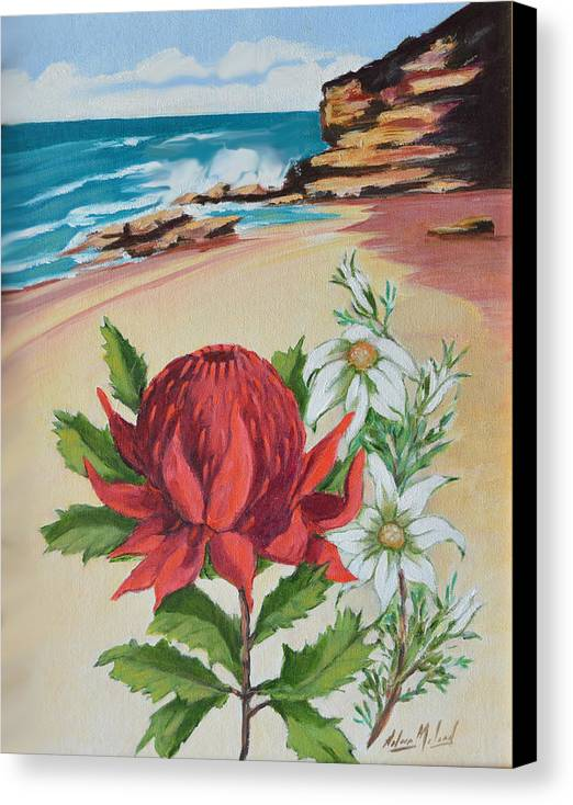 Wildflower Study Canvas Print featuring the painting Wildflowers And Headland by Aileen McLeod