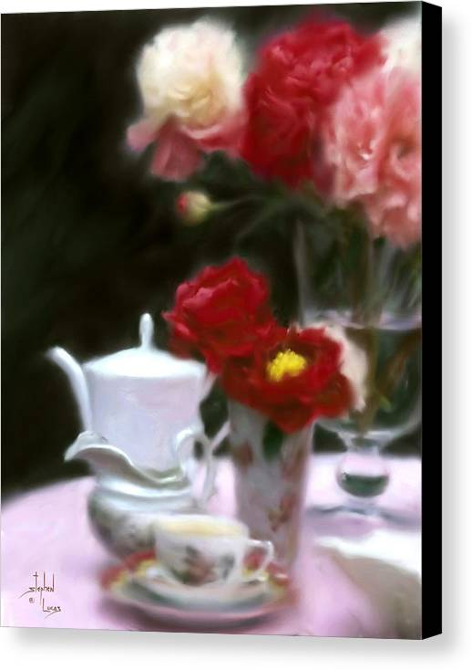 Peonies Canvas Print featuring the digital art Afternnon Tea With Peonies by Stephen Lucas