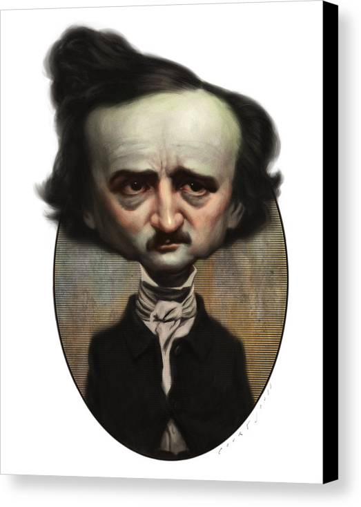 Caricature Canvas Print featuring the painting Edgar Allan Poe by Court Jones