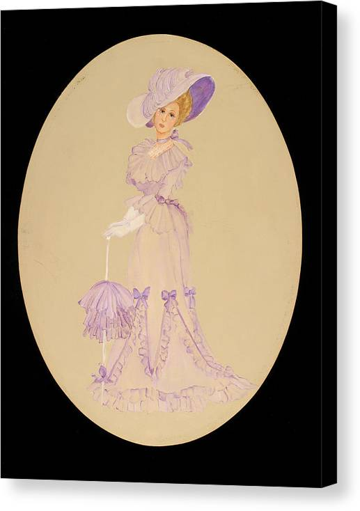 Woman Canvas Print featuring the painting Gay 90s Lavender Woman by Betty Stevens